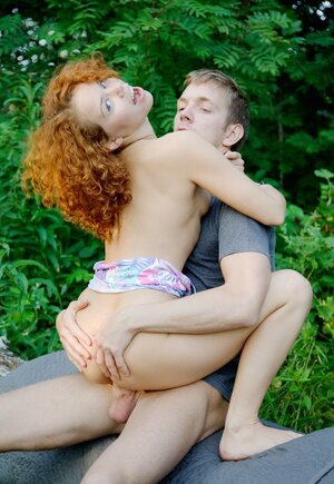 Curly-haired redhead and besides stud meet in park to have fantastic outdoor sex