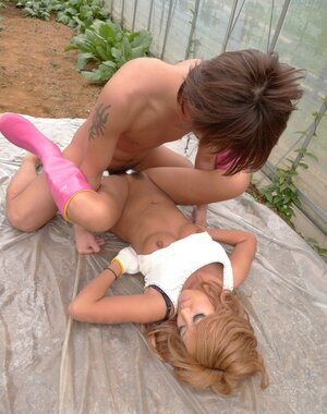 Far eastern farmer babe does it with helper in the greenhouse being creampied