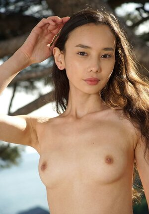 Small Asiatic babe takes off T-shirt and moreover lifts up the skirt before slides it down