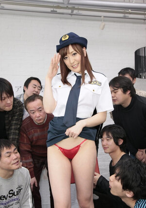 Real hardcore orgy with a lot of participants is going to start because Asian cop is so helpless